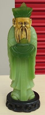 Antique/Vintage Chinese Green Jade/Jadeite Hand Carved Statue with Bone Face