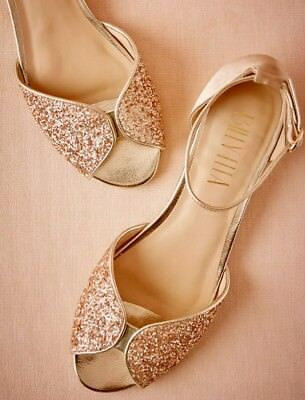 NEW BHLDN Sold out Billy Ella Champagne Gold Glitter JENI Flats Sz 8 MSRP $140