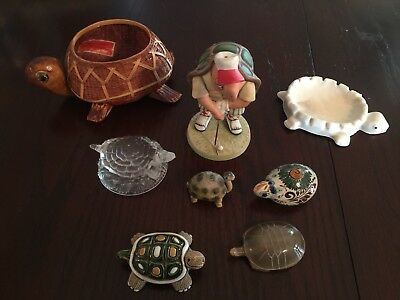 Lot Of 8 Assorted Vntg Rare Turtle Collection Great Shape Fenton Jade and more