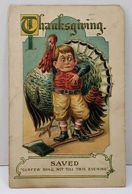 Thanksgiving SAVED Curfew Shall Not Toll Evening Exaggerated Turkey Postcard A3
