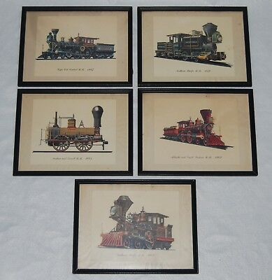 Vintage Art Print - Railroad Train Set of 5