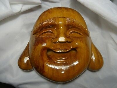 "Japanese  Hand Carved Wood "" Buddha Smiling Face"" Mask"