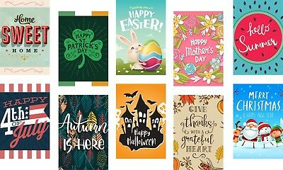 Seasonal Garden Flag Set for Outdoors | 10 Pack Assortment of 12-inch x 18-inch