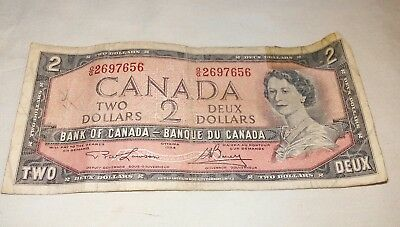 "1954 Canada 2 Dollars Bank Note Made In Ottawa By ""british American Note Company"