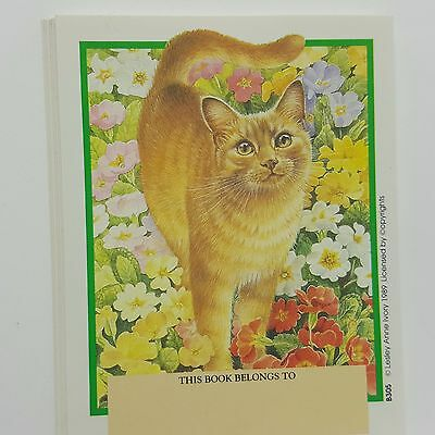 Antioch Cat Kitten Book Plates Lot 15 Lesley Artist Ivory 1989 Flowers Garden