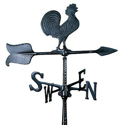 Black Rust Free 24 in. Aluminum Rooster Accent Weathervane Weather Station