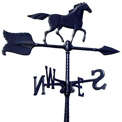 Rust Free Black 24 in. x 15-in Aluminum Horse Accent Weathervane Weather Station