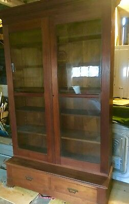 Large Antique Mahogany Library Bookcase wavy glass adjustable shelves drawers