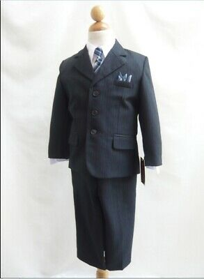 Boys navy pinstripe Business Suit Toddler Formal 5 Pc set Long tie Prom 2 3 4
