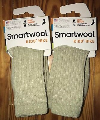 Lot Of 2 New SmartWool Kids' Crew Hiking Socks Size Med Youth 12-2.5 SW0SW190