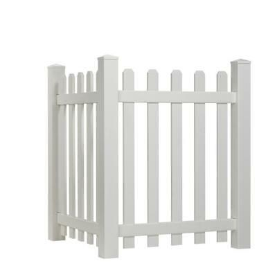 WHITE SPACED PICKET 4 ft  H x 3 5 ft  W Vinyl Dog Ear Corner Accent Fence  Panel