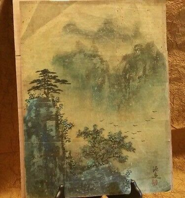 Older Chinese Japanese Painting ORIGINAL hand done Landscape Signed Seal Marked