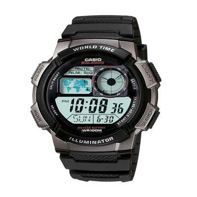 Black World Time 100-m Water Resistant Illuminator LED Light Watch Fishing Gear