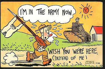 Ww11 - I'm In The Army Now, Wish You We're Here (Instead Of Me) Military Comic C