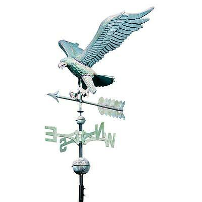 Hand Hammered Polished Copper 48-in Roof Mount Verdigris Eagle Weathervane