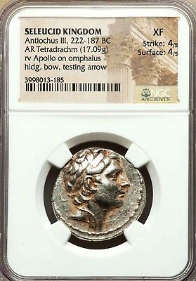 NGC XF 4/5-4/5. Antiochus III the Great. Exquisite Tetradrachm Greek Silver Coin