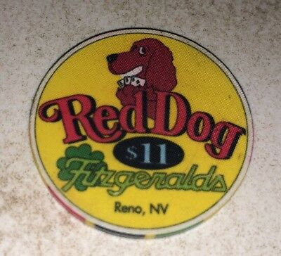 Fitzgeralds Red Dog $11 Casino Chip Reno Nevada 2.99 Shipping