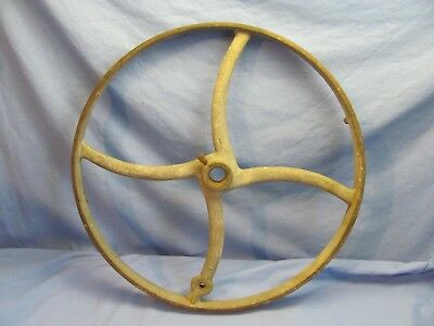 """Great Vintage Antique Cast Iron Industrial 16"""" WHEEL, Curved spokes, Steampunk"""