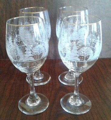 LIBBEY Wine Glass ARBY'S Christmas Frosted Etched Winter Gold Trim 8 1/4' 4 Set