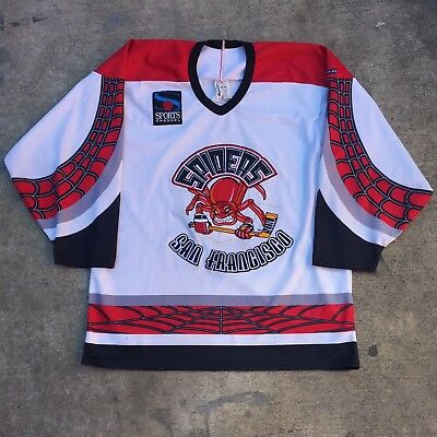 Vtg RARE BAUER AUTHENTIC SAN FRANCISCO SPIDERS IHL HOCKEY JERSEY White M 1990's