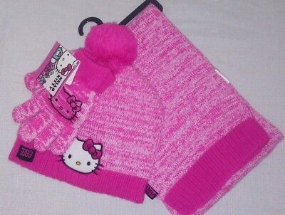 NWT Hello Kitty Girls' Winter Hat Scarf and Gloves Set One Size Fits Most