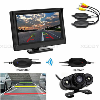 "5"" Rear View Monitor Display + Wireless Backup Camera 170° For Car Truck Auto"