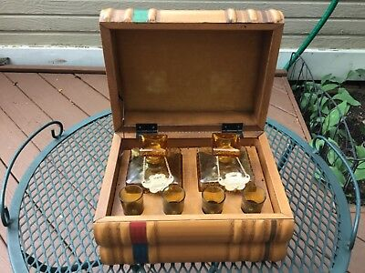 2 Vintage AMBER GLASS DECANTERS with 4 SHOT GLASSES in WOODEN CHEST,Books like😊