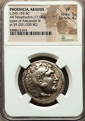 NGC VF 5/5-4/5. Aradus Tetradrachm. In the Name & Types of Alexander the Great.