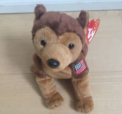 TY BEANIE BABIES: COURAGE FLAG ON LEFT - ORIGINAL TAGS sept. 11, 2001