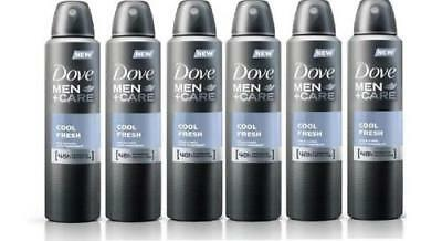 Dove Men + Care Cool Fresh Spray Deodorant & Anti-Perspirant 6 Pack 150ml New