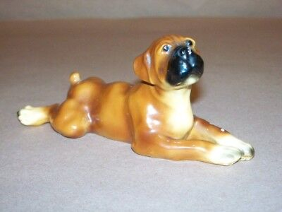 Morton Pottery  Boxer Dog Lying Down Black Noise White Paws Signed Chopped Tail