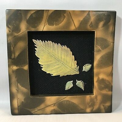 Surving Studios Ceramic Art Tiled Frame w Four Leaves 1 Lg Yellows, Browns Golds
