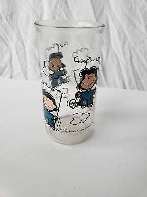 Vintage 1952 Peanuts Lucy Swinging in the Clouds Glass United Feature Syndicate