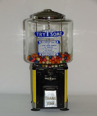 Vintage Try Some 1¢ GUMBALL Machine Glass Globe
