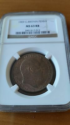 Great  Britain  1909 Edward  Vii Penny  Ngc Ms 63 Rb