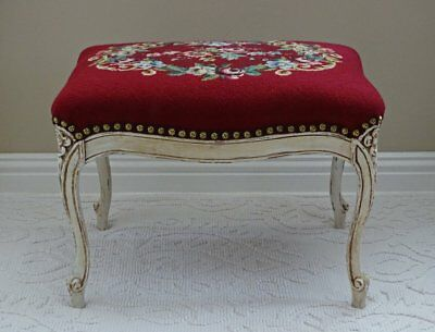 Vintage Shabby Chic Cottage Louis XV Footstool Foot Rest Floral Needlepoint
