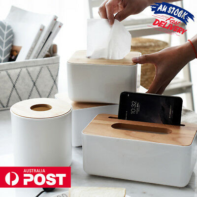 Plastic Tissue Napkin Box Cover Holder Square Round Wooden For Car Room Hotel AU