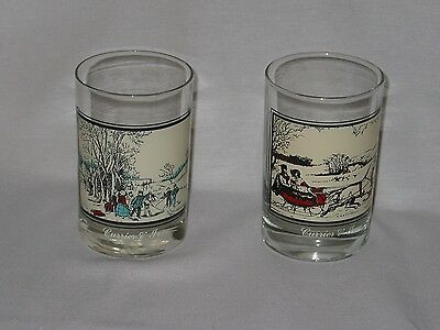 Arbys Glasses  Set Of 2 E Currier & Ives ~ The Road In Winter Winter Pastimeuc!