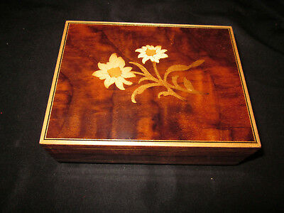 CUENDET Edelweise #15303 Flower Inlay Swiss Music Box