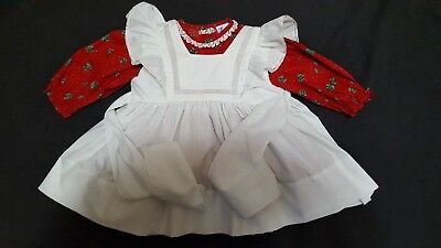 "Vtg Toddler Girl Holiday ""bryan"" 2 Piece Dress & Pinafore Apron Size 18M-24M?"