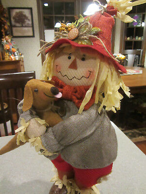 Freestanding Scarecrow hugging with LOVE Red/Brown Dachshund Harvest Fall Decor