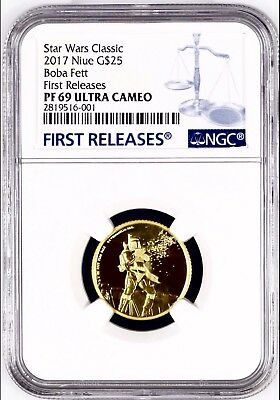 2017 NIUE STAR WARS CLASSIC BOBA FETT G$25 Gold NGC PF69 UC 1st RELEASES + OGP