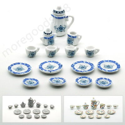 15pcs Mini Tableware Porcelain Ceramic Coffee Tea Set 1:12 Dollhouse Miniature