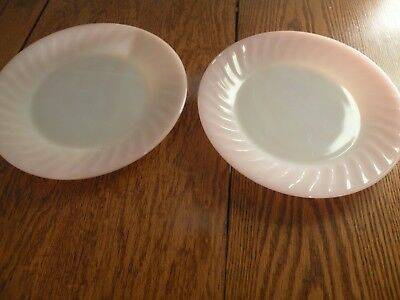 Anchor Hocking Fire King Pink Swirl Dinner Plates Set Of 2
