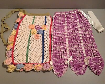 Vintage Crocheted Aprons Set of 2~Multi Color and Lavender Hand Made Beautiful!
