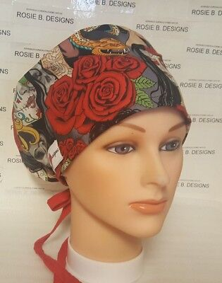 Roses And Skull / Pixie Hat/ Scrub Surgical/ Medical/nurses/or/drs