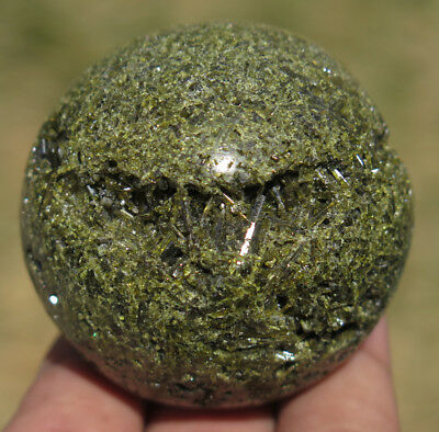 49mm 6.2OZ Natural Green Tourmaline Epidote Cluster Geode Crystal Sphere Ball