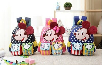 Minnie Mickey Cartoon Baby Girl Boy Backpack Shoulder Bag School Book Bag &9