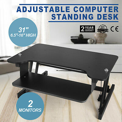 Sit-Stand Adjustable Height Workstation, for Computer Screens 31'' Black