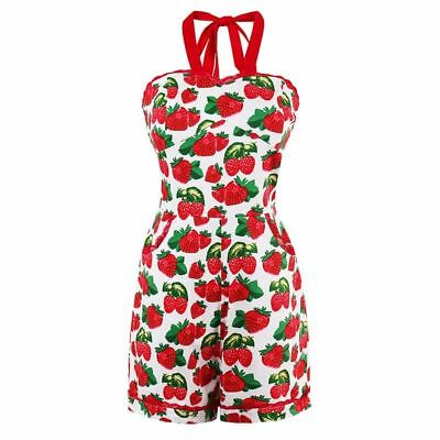 Red Play-suit Suspender Skinny Sexy Pin Up Jumpsuit Adjustable Strap Zipper Back